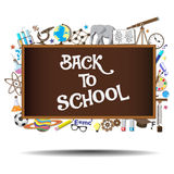 Back to School chalkboard with science symbols and Royalty Free Stock Photography