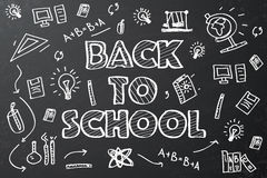 Back to school chalkboard sketch Royalty Free Stock Images