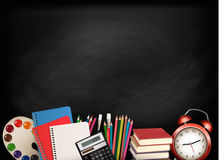 Back To School.Chalkboard With School Supplies. Stock Photography