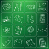 Back to school chalky doodles vector illustration