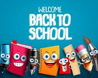 Back to school characters set vector background design with colorful funny educational cartoon. Mascots elements and text in blue background. Vector royalty free illustration