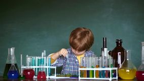 Back to school. Chemistry. The science classroom. Elementary school. Science and education concept. Back to school. Chemistry. The science classroom. Elementary stock footage