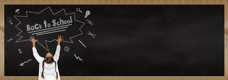 Back to school, child scream chalkboard. Back to school, child scream Royalty Free Stock Photography