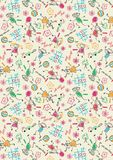 Back to School Children Color Pastel Drawing Pattern Stock Photo