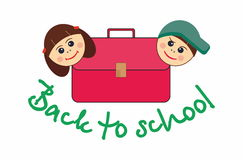 Back to school. Children, girl and boy, and school satchel Royalty Free Stock Images