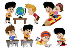 Back to school.Children`s activity,looking a globe earth,riding stock illustration