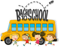 Back to school with children and schoolbus Stock Photography