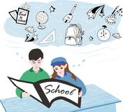 Back to school, children sit at their desks and read an interest royalty free illustration