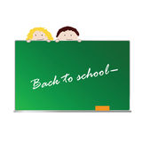 Back to school with children vector. Back to school with children color art vector Stock Photo
