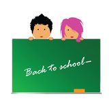 Back to school with children vector. Back to school with children color vector illustration Stock Photos
