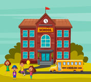 Back to school. Children on the yard. Cartoon vector illustration. Yellow bus. Sunny day. September the first. For banners and posters Stock Photos