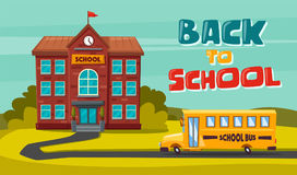Back to school. Children on the yard. Cartoon vector illustration. Yellow bus. Sunny day. September the first. For banners and posters Royalty Free Stock Image