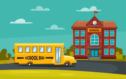 Back to school. Children on the yard. Cartoon vector illustration. Yellow bus. Sunny day. September the first. For banners and posters Stock Images