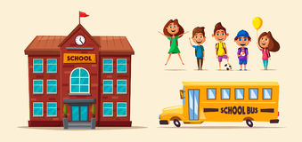 Back to school. Children on the yard. Cartoon vector illustration. Yellow bus. Sunny day. September the first. For banners and posters Royalty Free Stock Images