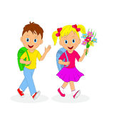 Back to school.childrens going to school. Royalty Free Stock Photos