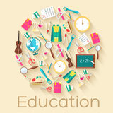 Back to school circle flat icons concept. Vector Stock Images