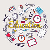 Back to school circle flat icons.  Thin lines Royalty Free Stock Image
