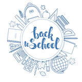 Back to school circle shape template Royalty Free Stock Photo