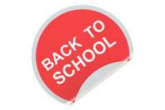 Back to School circle sticker, sale and discount concept. 3D ren Stock Images