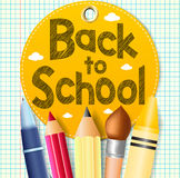 Back to School In A Circle Tag with School Supplies on a Paper. Patterned Background Royalty Free Stock Photos