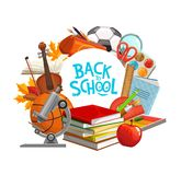 Back to School classes books and study supplies. Back to school education supplies and student classes books. Vector back to school banner with study items stock illustration
