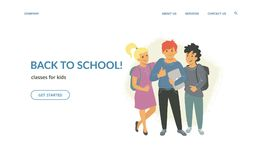 Back to school classes for creative kids. Flat vector illustration for website and landing page design of three children with thumbs up, laptops and backpacks vector illustration