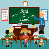 Back to School. Classroom with children. Teacher at the Blackboard Stock Images