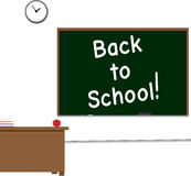 Back to School!. Classroom scene with Back to School written on the chalkboard Stock Images