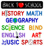 Back to School Clip Set/eps. Illustration headlines including back to school and school subjects and themes Royalty Free Stock Photography