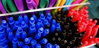 Back to school: close-up on pens royalty free stock photos