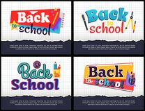 Back to School Collection of Colorful Stickers Stock Images