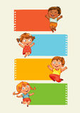Back to school. Collection of infographics elements in the form of paper tape for various purposes. Funny cartoon character. Vector illustration. Set Stock Images