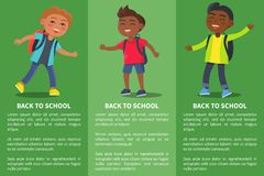 Back to School Collection of Posters with Kids. Back to school collection of posters with inscriptions.  vector illustration of school-aged boys with rucksack Stock Photo