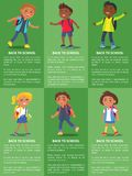 Back to School Collection of Posters with Kids Royalty Free Stock Photos