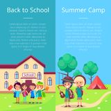 Back to School Collection of Posters with Kids Stock Photography