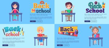 Back to School Collection of Posters with Pupils Stock Photography