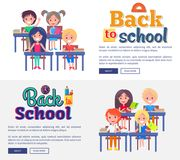 Back to School Collection of Posters on White Royalty Free Stock Photo