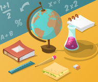 Back to school. Collection of school supplies in cartoon style. Royalty Free Stock Photos