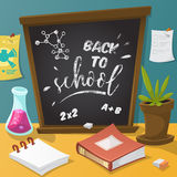 Back to school. Collection of school supplies in cartoon style. Stock Image
