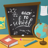 Back to school. Collection of school supplies in cartoon style. Royalty Free Stock Photo