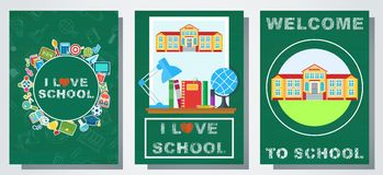 Back to school color cards set. Bright posters on the topic of education. School building, school supplies and bus on the background of a green school board vector illustration