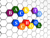 Back to school on color hexagons Stock Photos