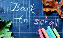 Back to school. Color pastel chalks, blackboard, autumn leaves and text Royalty Free Stock Photo