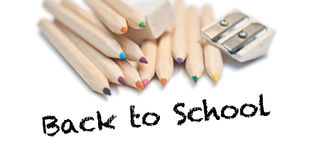 Back to school with Color pencils, stationery. Back to school with Color pencils, rubber and sharpener Stock Images