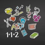 Back to school colored chalk doodles on chalkboard Royalty Free Stock Photography