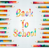 Back to school. Colored inscription back to school.Abstract colorful pencils Royalty Free Stock Image