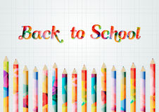 Back to school. Colored inscription back to school.Abstract colorful pencils Stock Image