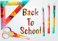 Back to school. Colored inscription back to school.Colorful school supplies Royalty Free Stock Image