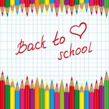 Back to school colored pencils Stock Images