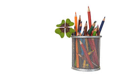 Back to school: Colored pencils in the jar Stock Photos